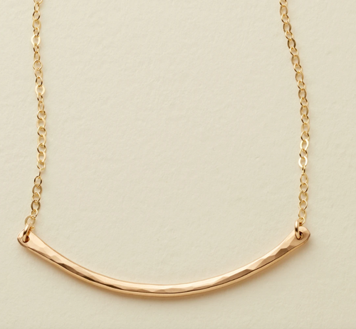 HAMMERED CRESCENT BAR NECKLACE - GOLD FILLED - MADE BY MARY