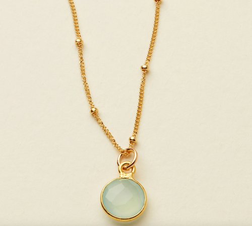 DEW DROP GEMSTONE NECKLACE - GOLD FILLED - MADE BY MARY