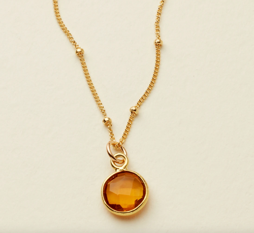 AFTERGLOW GEMSTONE NECKLACE - GOLD FILLED - MADE BY MARY