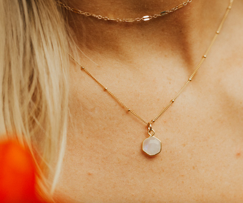 MOONSTONE NECKLACE - GOLD FILLED - MADE BY MARY