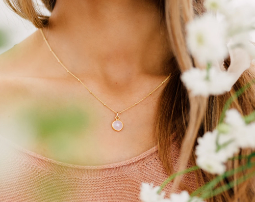 PETAL GEMSTONE NECKLACE - GOLD FILLED - MADE BY MARY