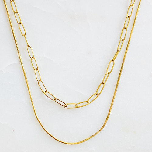 THE DOUBLE LAYER CHAIN NECKLACE IN GOLD