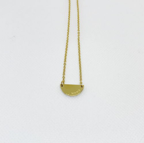 THE MAMA HALF MOON NECKLACE IN GOLD