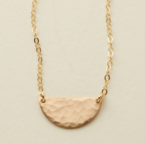 THE HAMMERED HALF MOON DISC NECKLACE - GOLD FILLED - MADE BY MARY