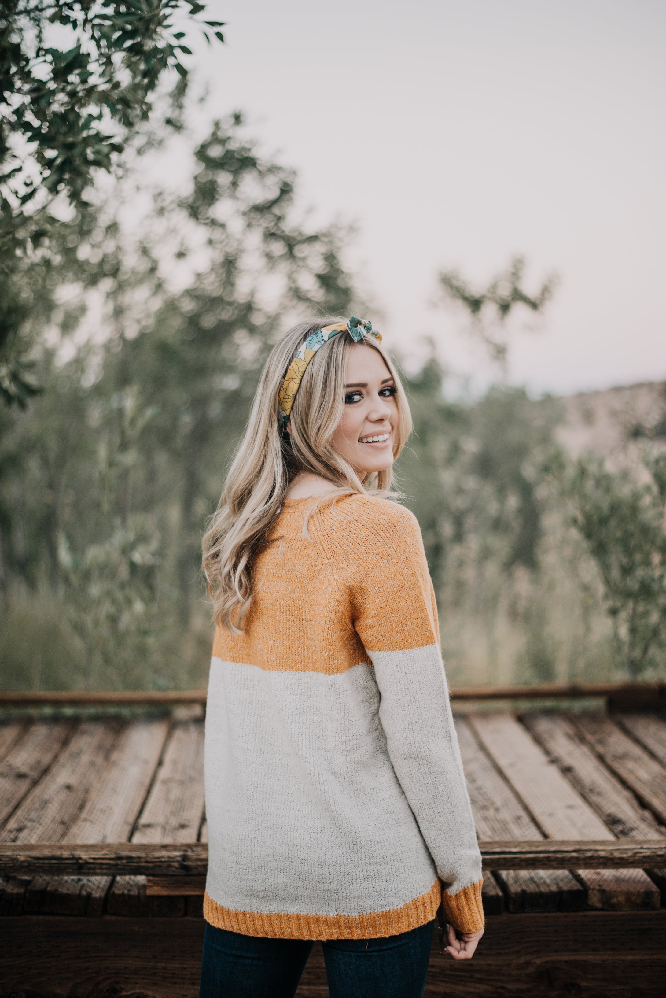 THE ALPINE COLOR BLOCK SWEATER IN HONEY