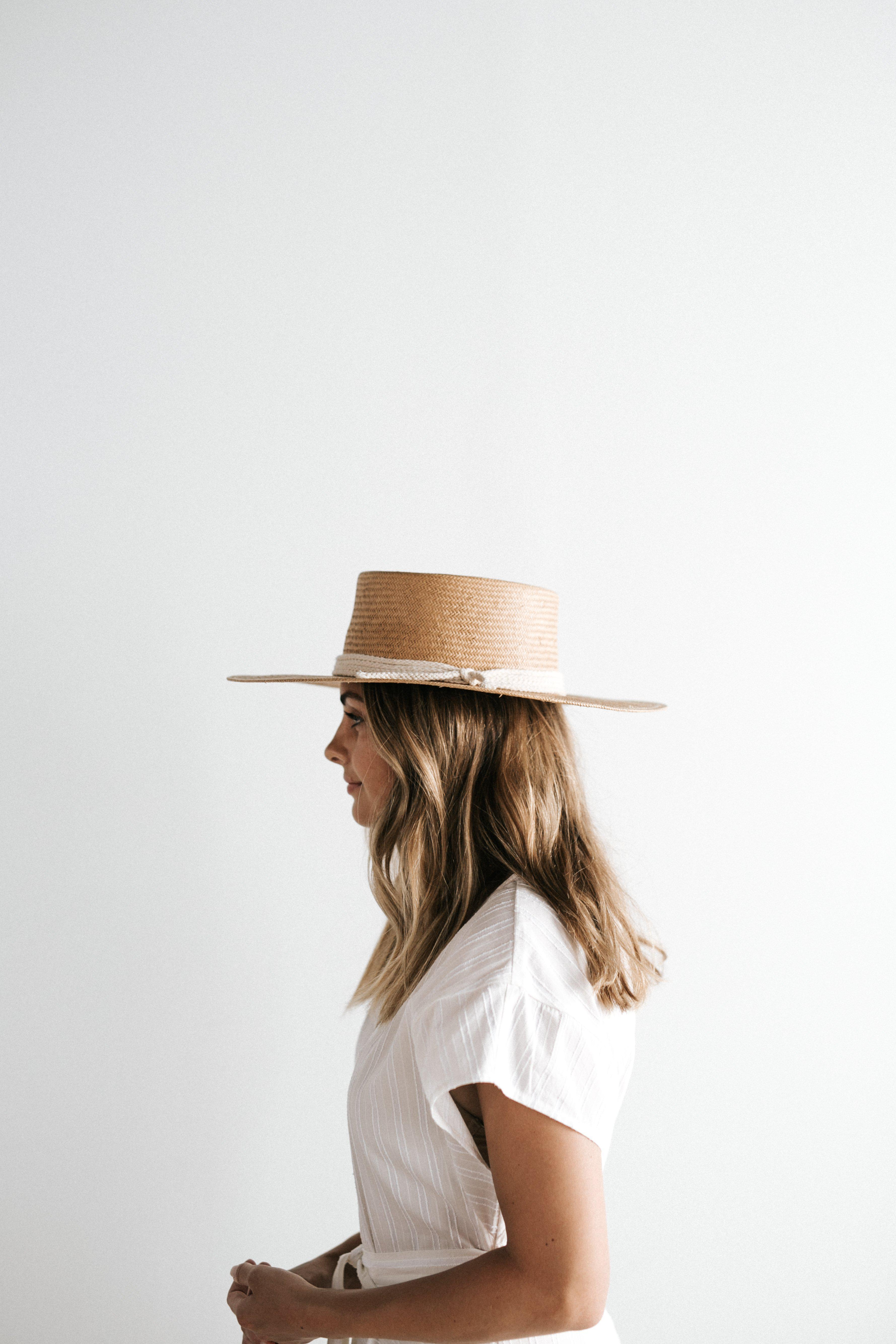 THE BRE NATURAL - STIFF STRAW PORK PIE HAT - GIGI PIP