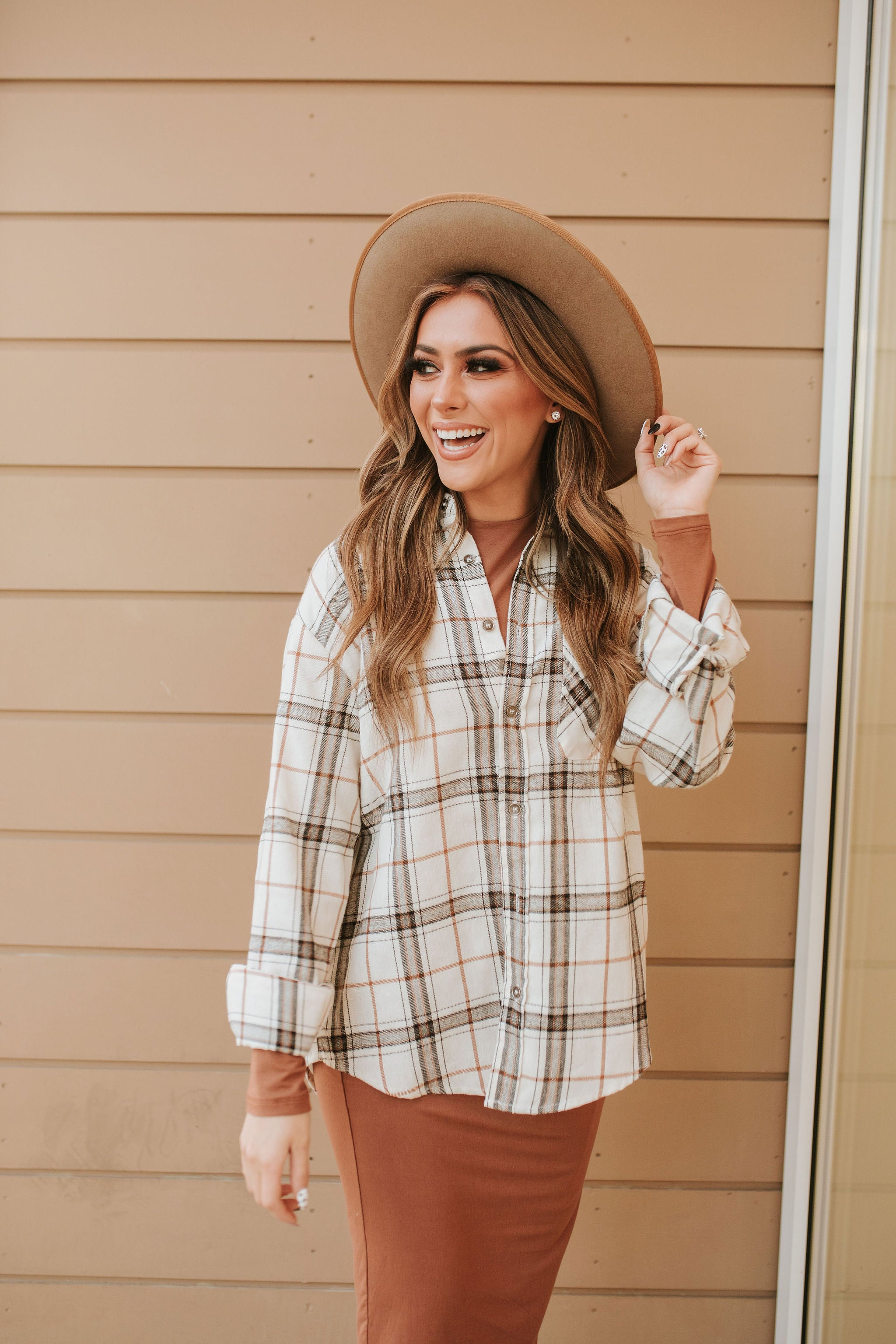 THE HANS PLAID BUTTON DOWN SHIRT IN BONE