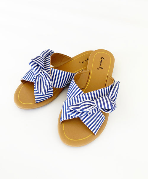 THE SLIP ON SANDAL IN BLUE STRIPE