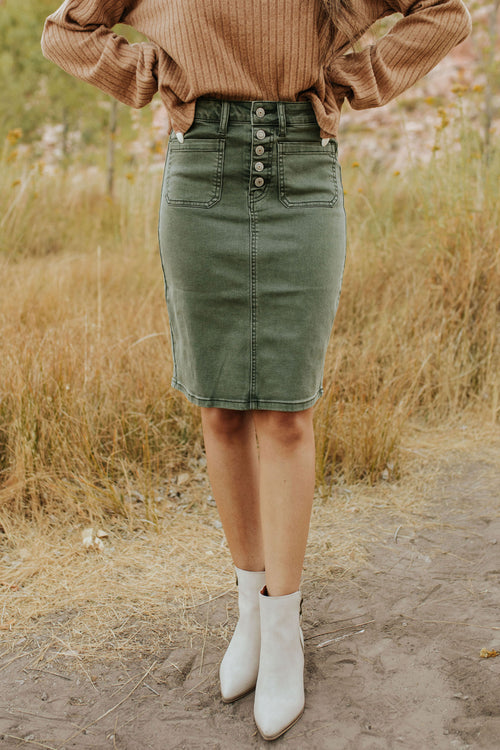 THE BRADLEY BUTTONFLY MIDI DENIM SKIRT IN OLIVE