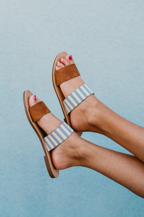 THE DOUBLE STRAP SANDAL IN NAVY STRIPE