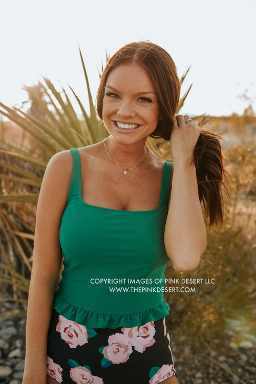 PINK DESERT MINI RUFFLE CROP PEPLUM SWIM TOP IN KELLY GREEN