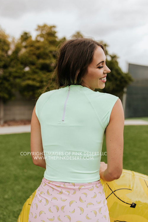 PINK DESERT CROPPED RASHGUARD SWIM TOP IN NEON MINT