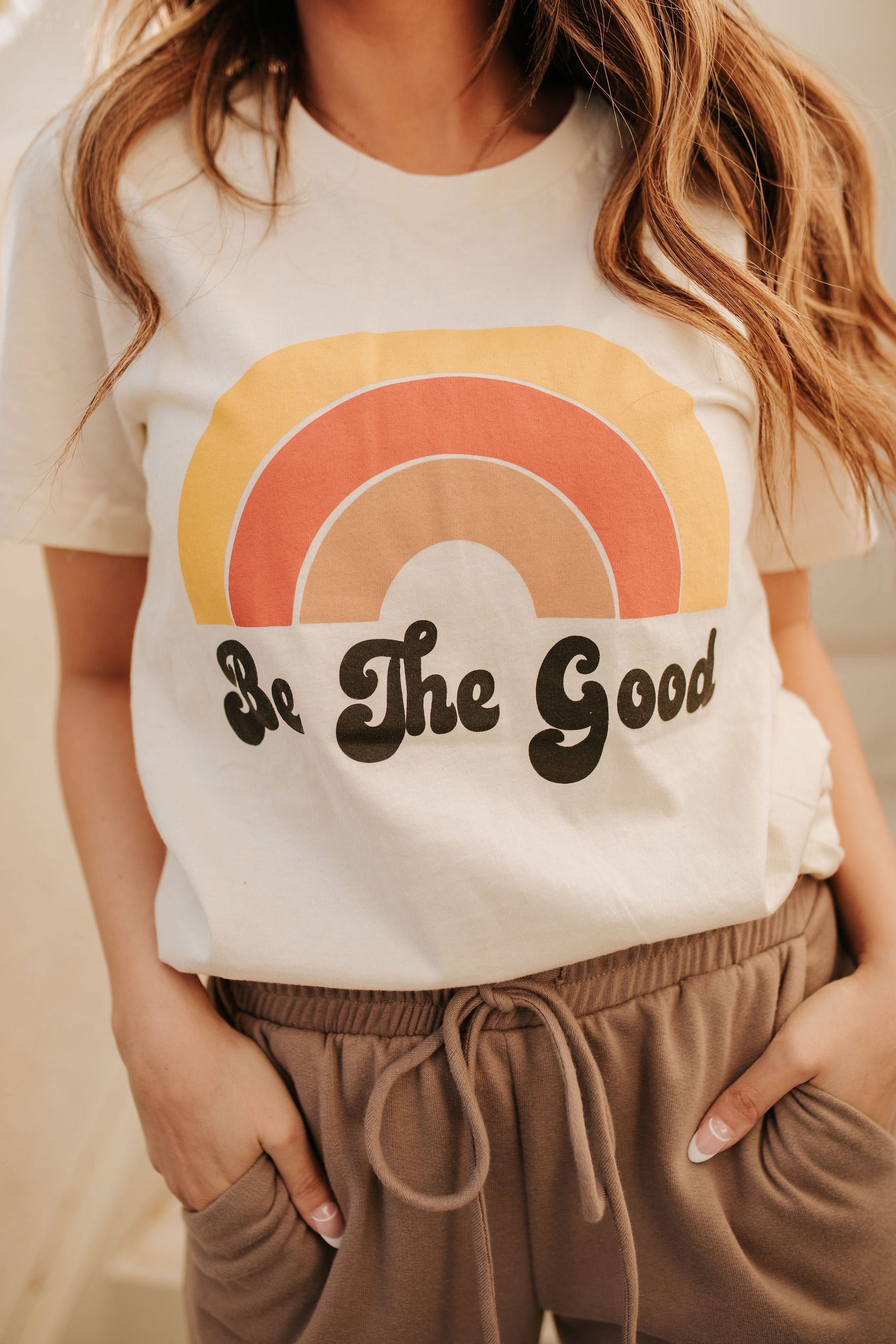 THE BE THE GOOD RAINBOW GRAPHIC TEE IN CREAM