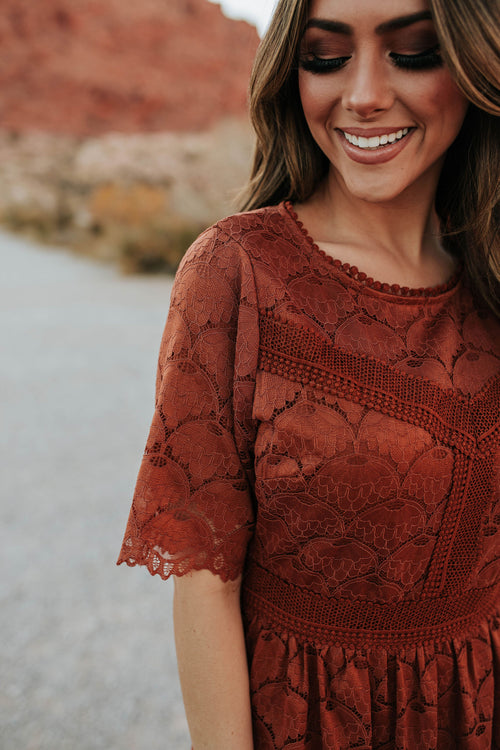 THE WINDSOR LACE MIDI DRESS IN COGNAC