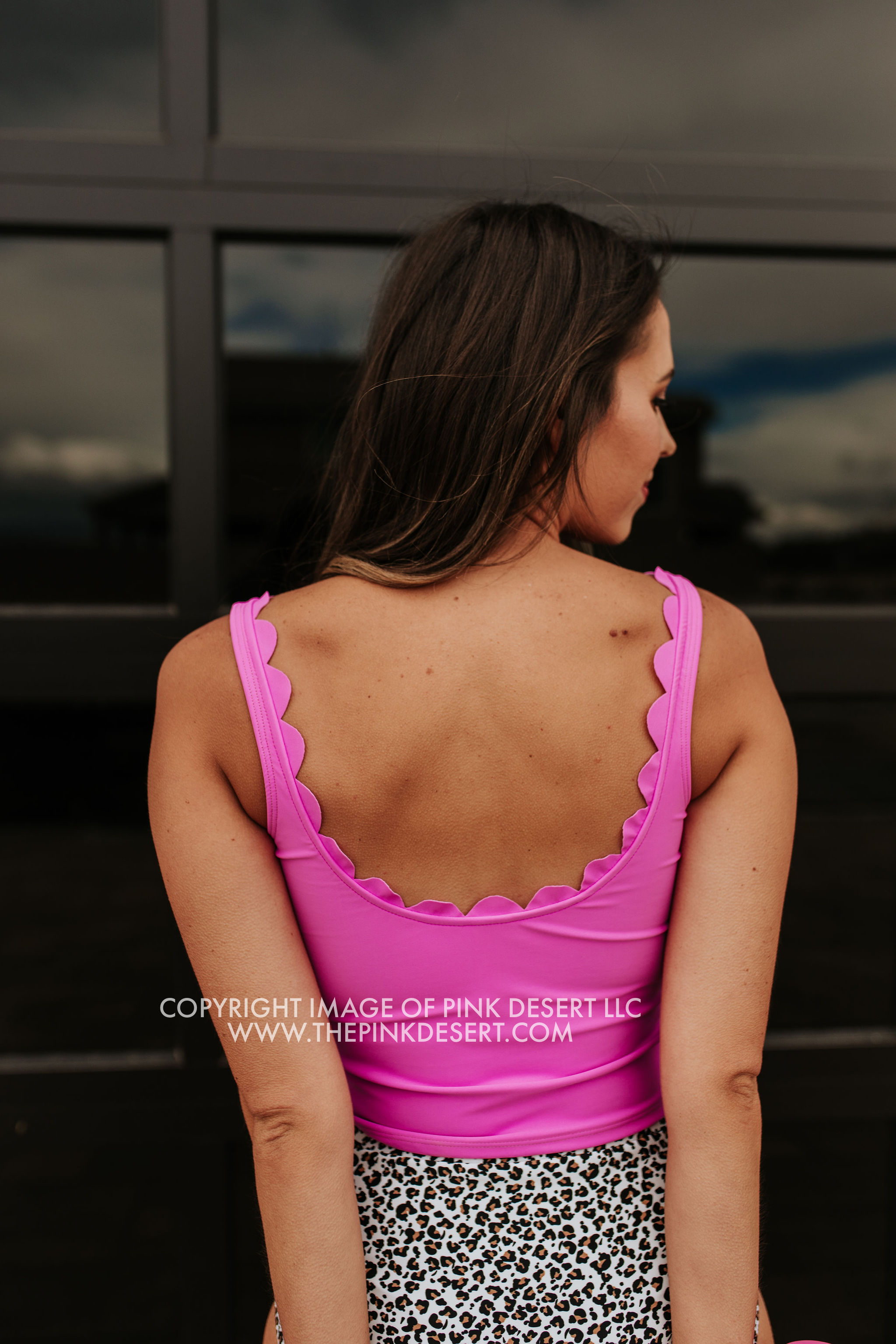PINK DESERT SCALLOPED MIDKINI SWIM TOP IN NEON LILAC
