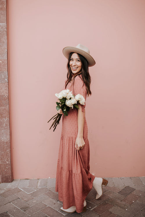 THE PINK DESERT TIERED MAXI DRESS IN BLUSHING ROSE