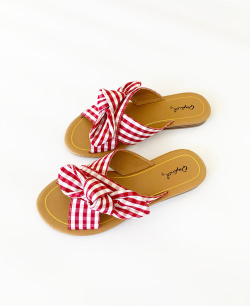 THE SLIP ON SANDAL IN RED GINGHAM