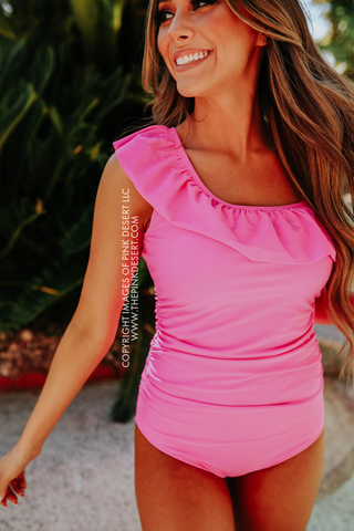 PINK DESERT MINI RUFFLE CROP PEPLUM SWIM TOP IN BARBIE PINK
