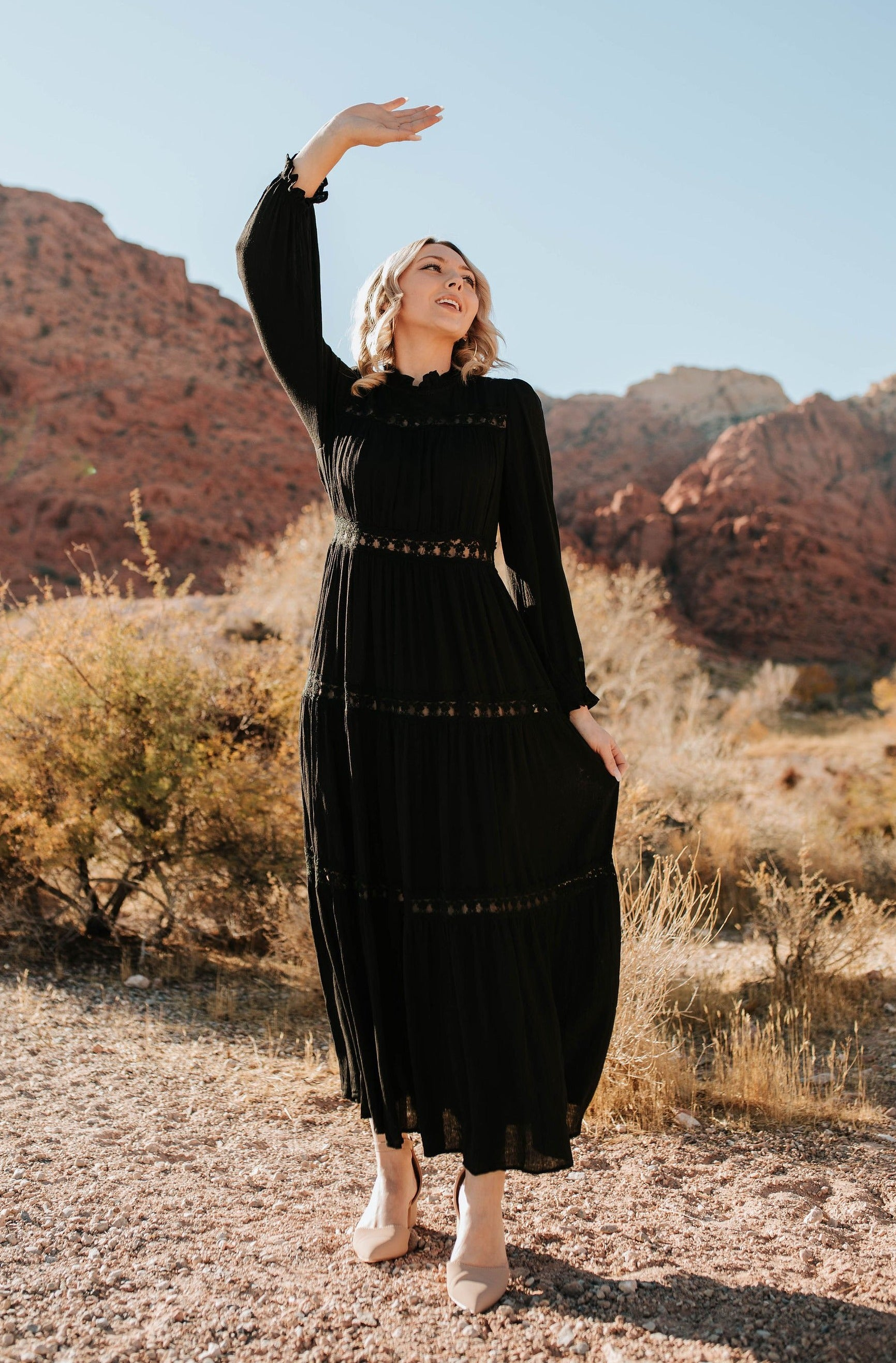 THE ALEX TIERED RUFFLED LACE MAXI DRESS IN BLACK