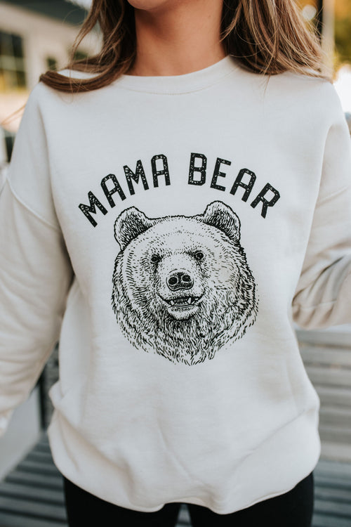 THE MAMA BEAR PULLOVER IN HEATHER DUST