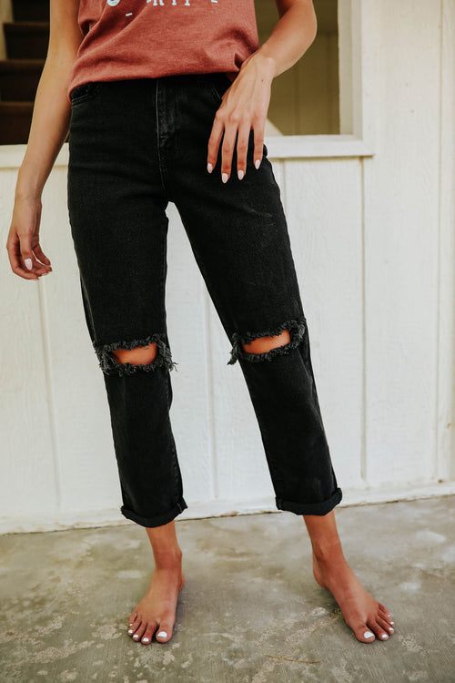 THE DISTRESSED HIGH WAISTED DENIM IN VINTAGE BLACK