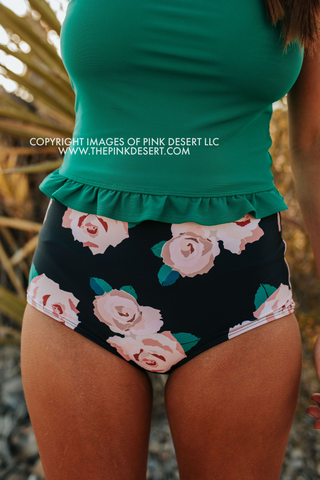 PINK DESERT VINTAGE HIGH WAIST SWIM BOTTOM IN BLUE FLORAL