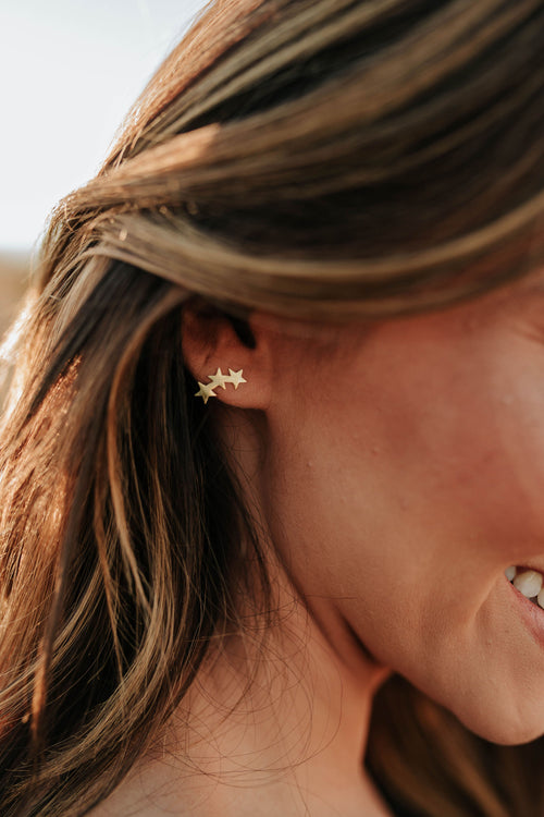 THE TRI-STAR STUD EARRINGS IN GOLD
