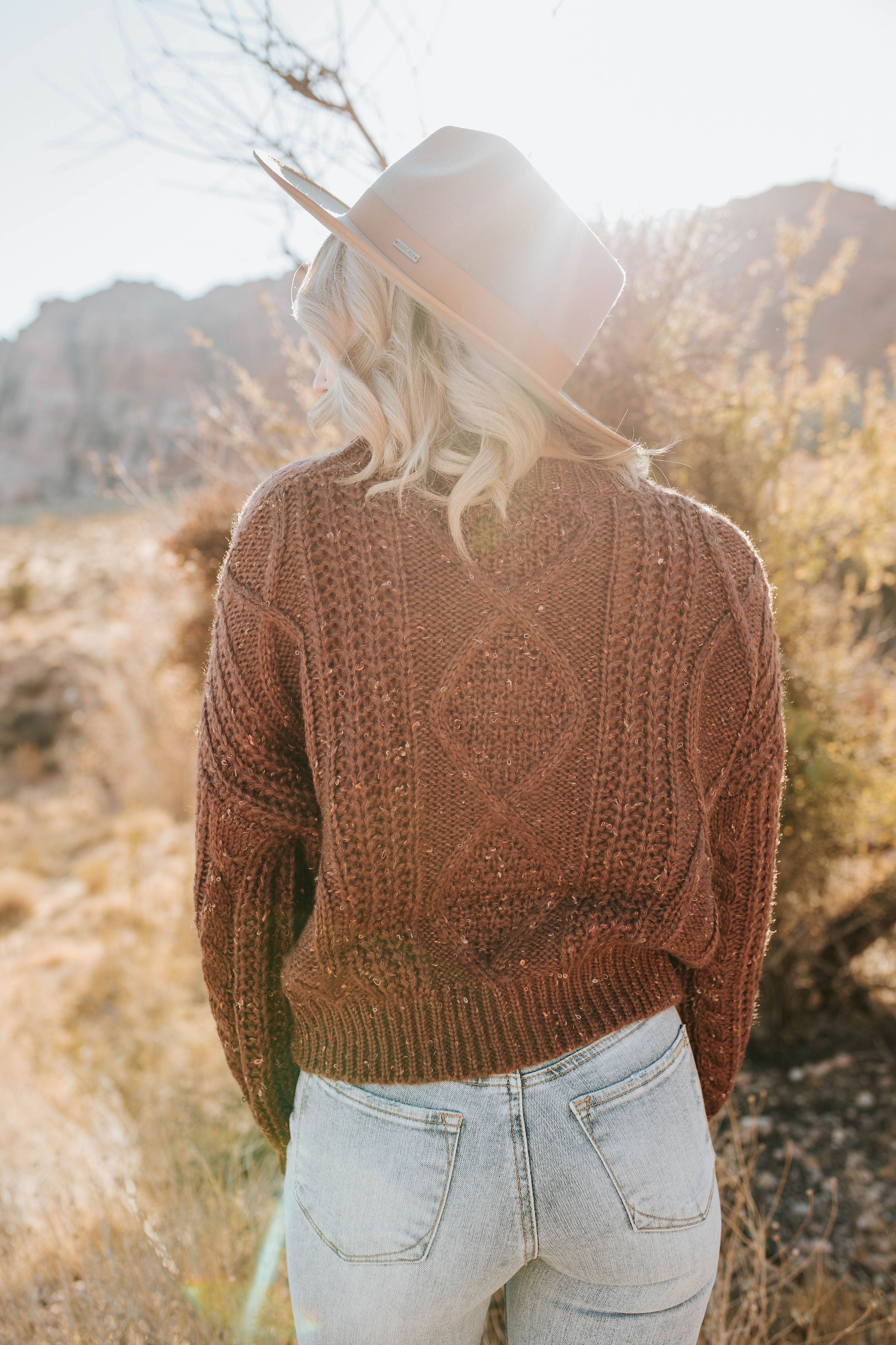 THE CADIE CABLE KNIT CROP SWEATER IN BROWN
