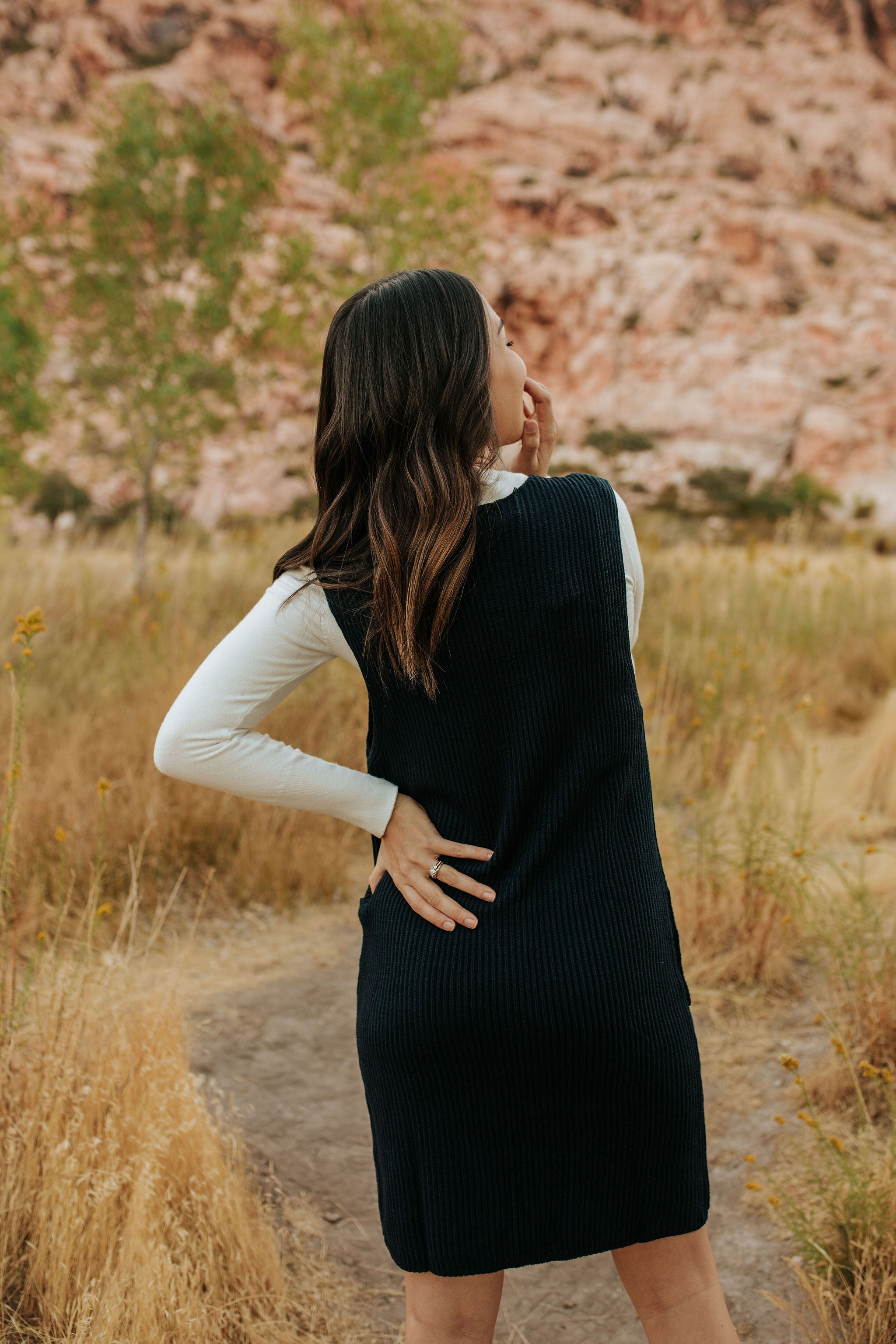 THE REECE KNIT DRESS IN  NAVY