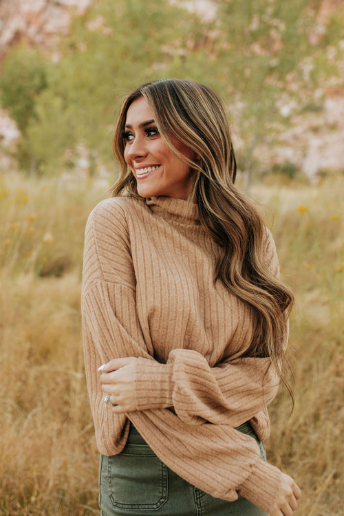 THE TESSA TURTLENECK SWEATER IN TAN