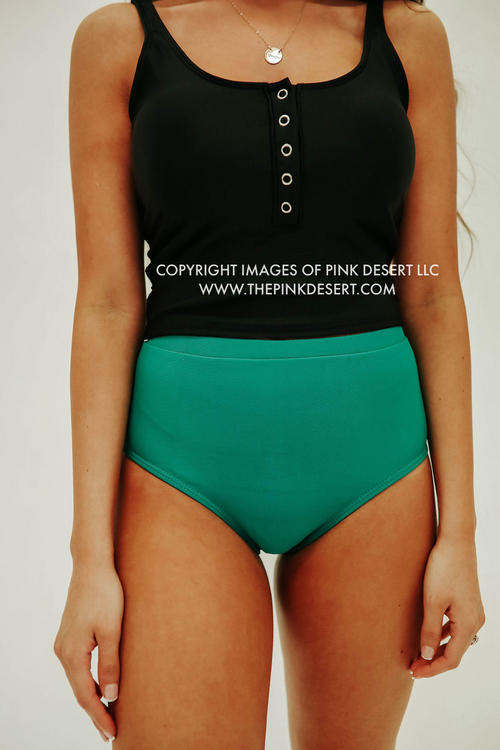 PINK DESERT VINTAGE HIGH WAIST SWIM BOTTOM IN KELLY GREEN