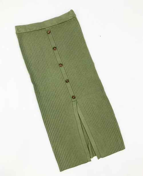 THE RUTHIE RIBBED MIDI SKIRT IN OLIVE