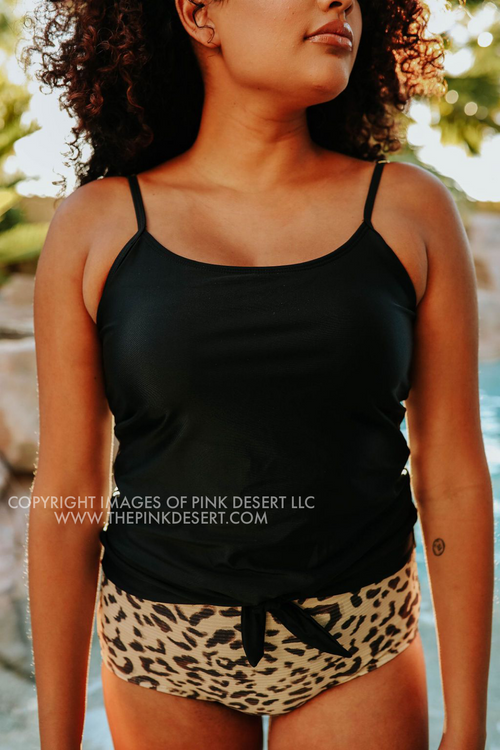 PINK DESERT TIE FRONT BLOUSON TANKINI SWIM TOP IN BLACK