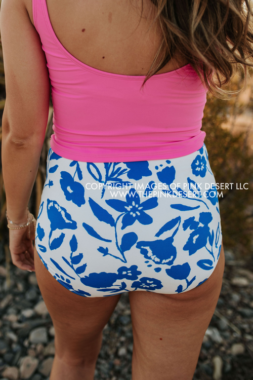 PINK DESERT HIGH WAIST SWIM BOTTOM IN BLUE FLORAL