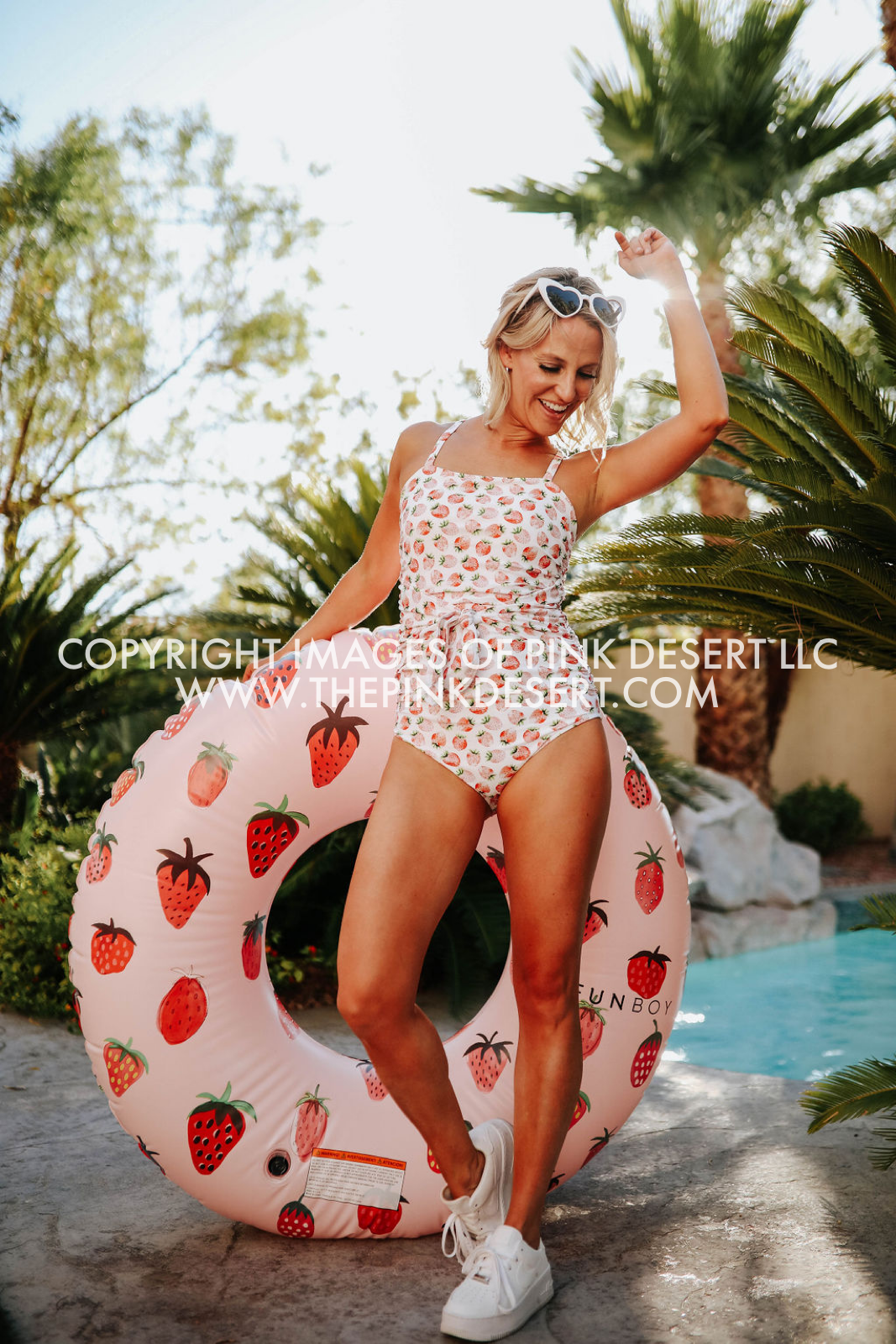 PINK DESERT TIED UP ONE PIECE SWIMSUIT IN SUMMER STRAWBERRY