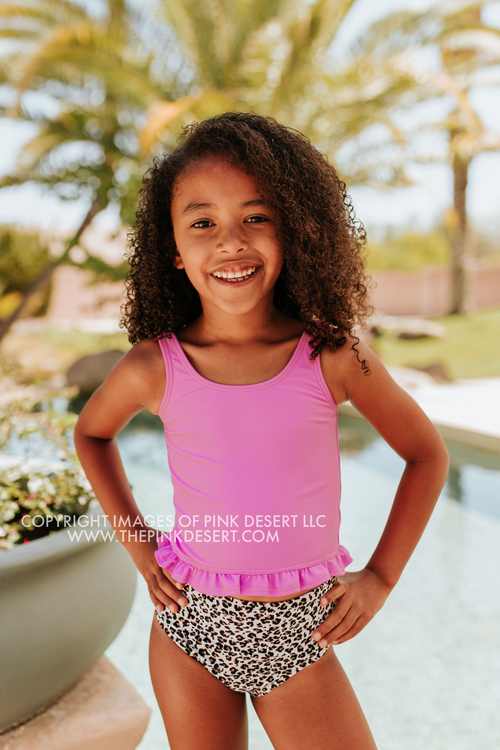 PINK DESERT GIRLS MINI RUFFLE PEPLUM SWIMSUIT SET IN NEON LILAC AND SNOW LEOPARD