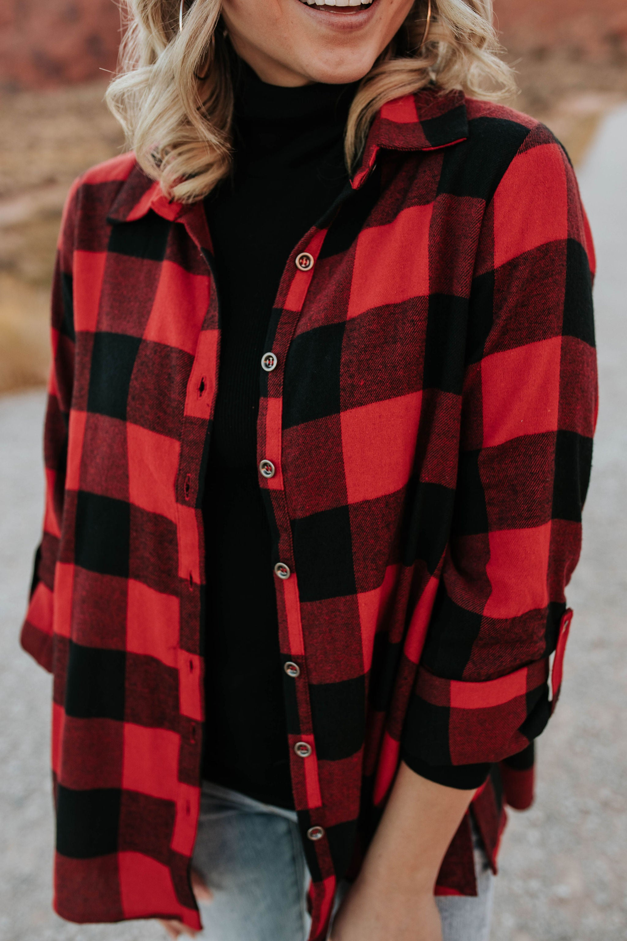 THE SEDONA PLAID TOP IN BUFFALO RED
