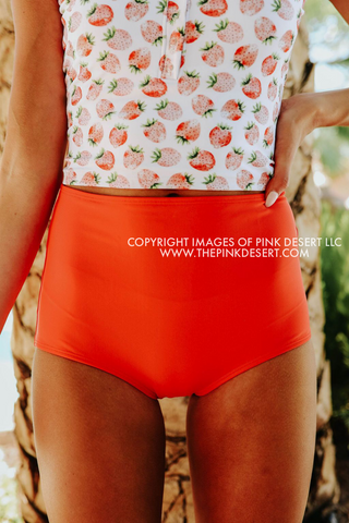 PINK DESERT MINI RUFFLE CROP PEPLUM SWIM TOP IN POPPY