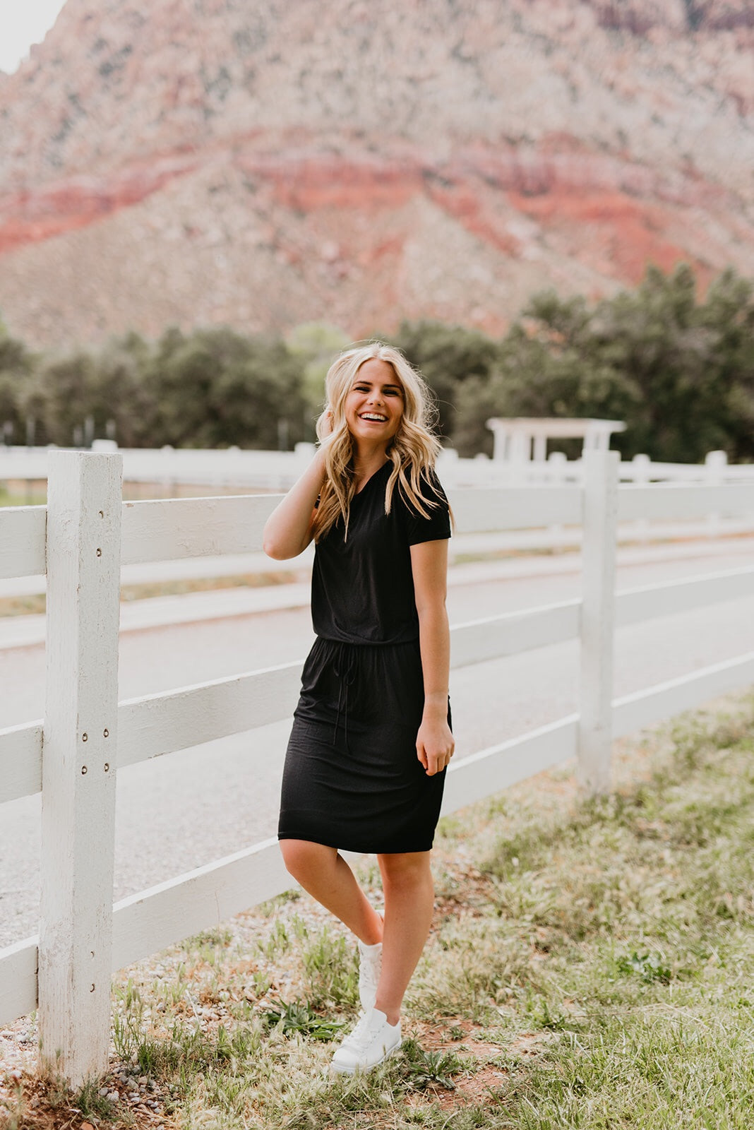 THE ALWAYS ELASTIC WAIST DRESS IN BLACK
