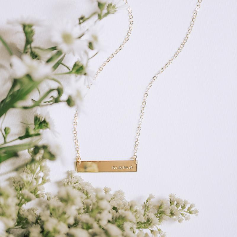 MAMA BAR NECKLACE - GOLD FILLED - MADE BY MARY