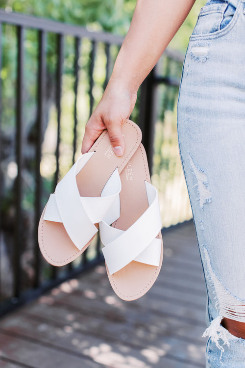 THE CRISS CROSS STRAPPY FLAT SANDAL IN WHITE