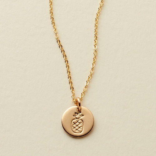 PINEAPPLE DISC NECKLACE - GOLD FILLED - MADE BY MARY