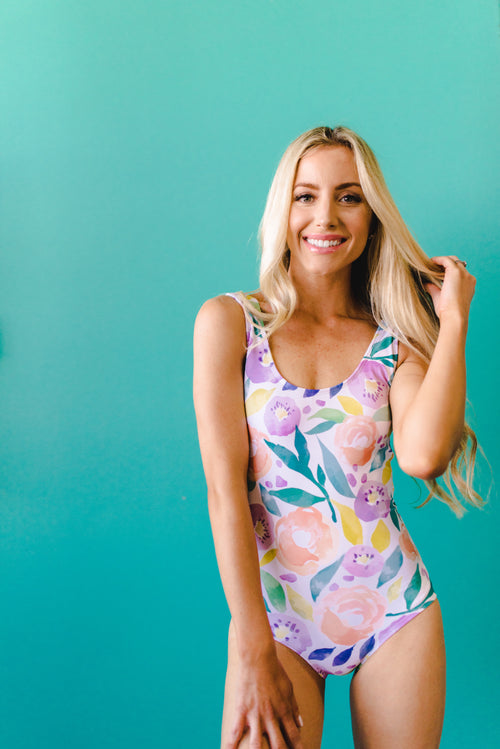 THE SCOOP ONE PIECE IN WATERCOLOR FLORAL