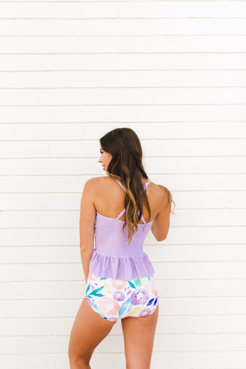 THE PURPLE PINSTRIPE PEPLUM TANKINI TOP