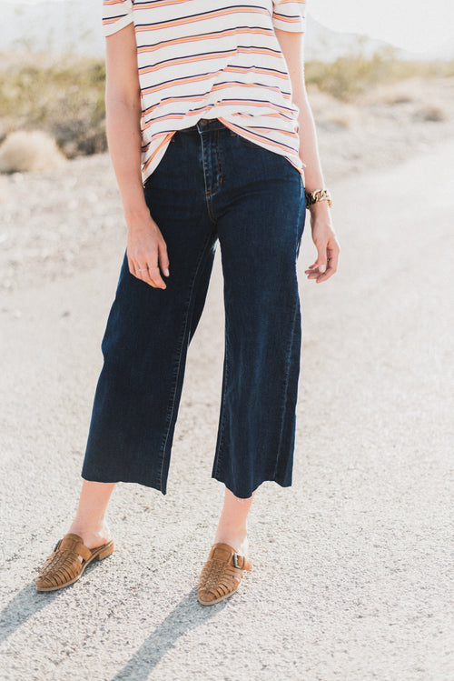THE CROPPED WIDE LEG IN DARK DENIM