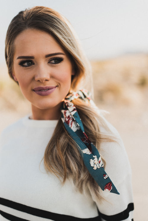 THE TEAL AND IVORY FLORAL SCARF