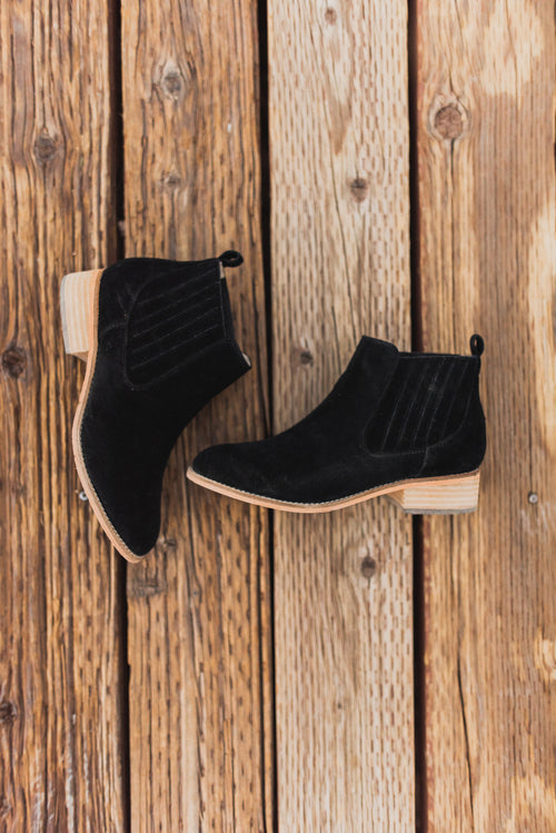 THE CASSIE SUEDE ANKLE BOOTIE IN BLACK