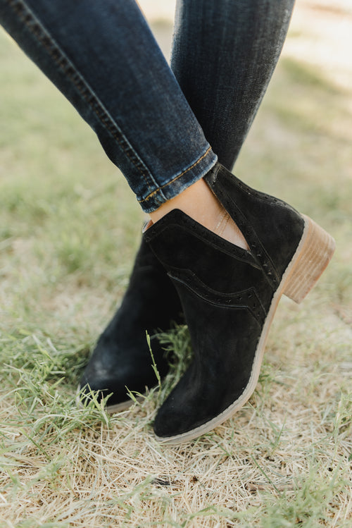 THE ANDREA V-CUT ANKLE BOOTIE IN BLACK