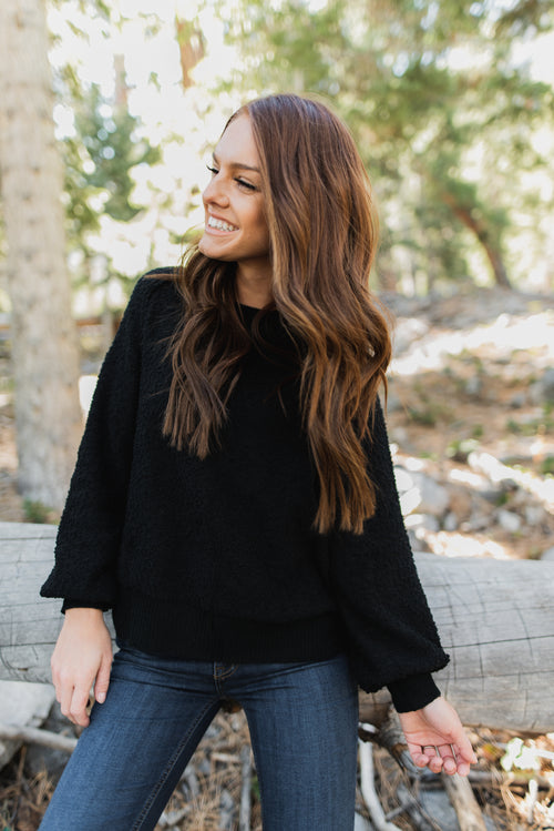 THE SALEM TEXTURED SWEATER IN BLACK