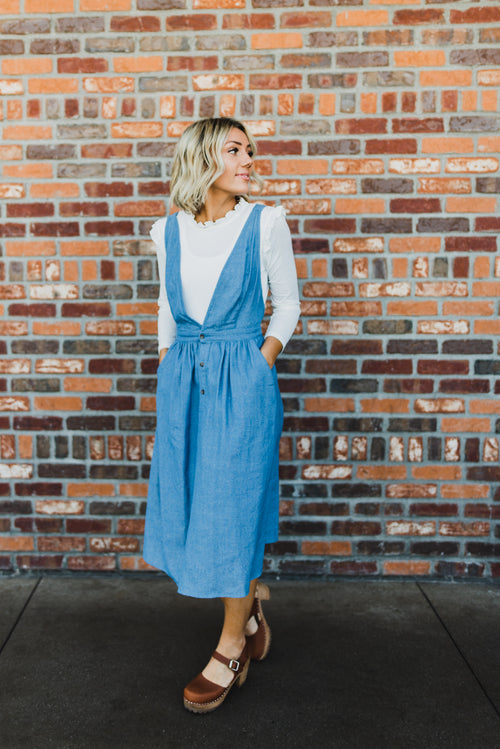 THE FALLON CHAMBRAY OVERALL DRESS